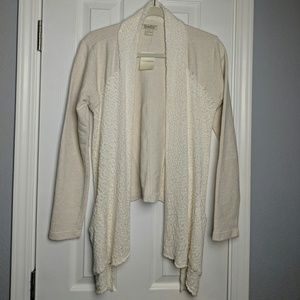 Lucky Brand ivory sweater with knit details nwt